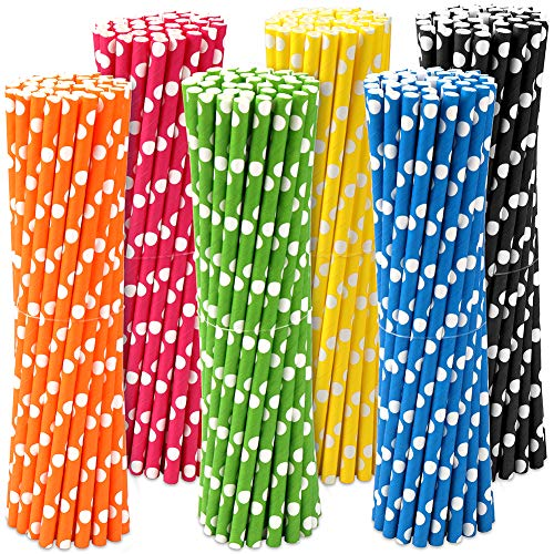 H&S Paper Straws 120pcs Biodegradable Recyclable Drinking Straws for Party Birthday Wedding