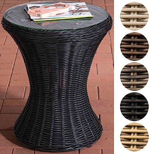 CLP Design Poly-Rattan Beistell-Tisch SANDINO, rund Ø 50 cm, Höhe ca. 60 cm, Sonnenliegen-Beistelltisch, Balkontisch mit Glasplatte aus 5 mm Sicherheitsglas Schwarz