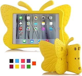 iPad case for kids, Feitenn 3D Cartoon Butterfly Non-toxic EVA Light weight Kid Proof Shockproof case with Kickstand for ipad 5/ ipad 6 /ipad pro 9.7/ New iPad 2017 case(Yellow)