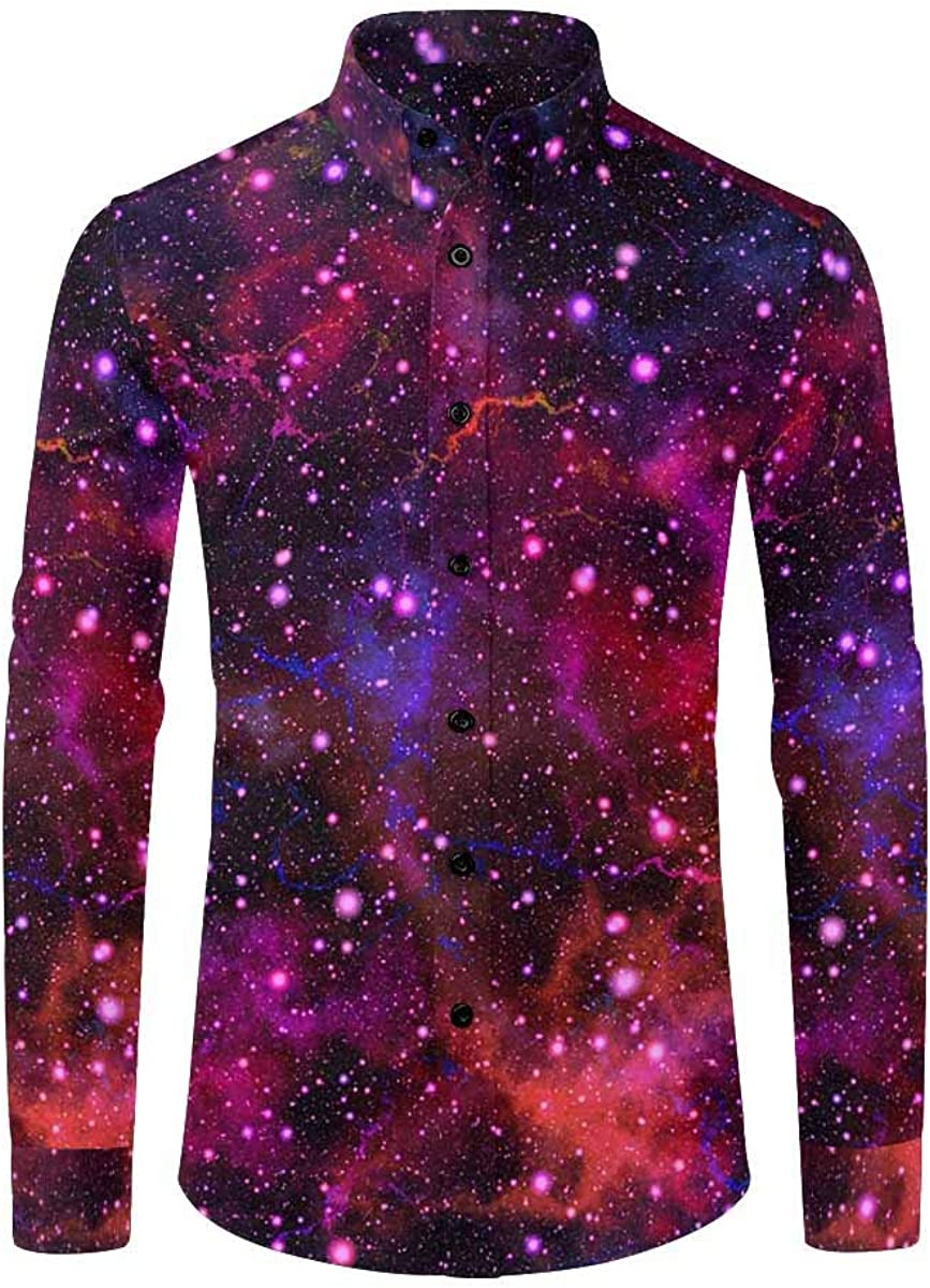 InterestPrint Men's Long Sleeve Casual Shirt with Chest Pocket