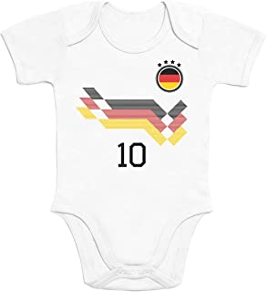 Shirtgeil Deutschland Fußball EM WM Trikot Kinder Wunschname Nummer Baby Body Kurzarm-Body