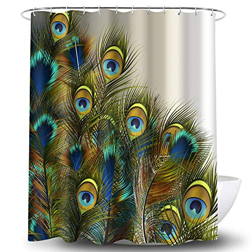 OA OATHENE Creative Peacock Feather Shower Curtain Colorful Blue Green Blue Eyes Set with 12 Hooks.