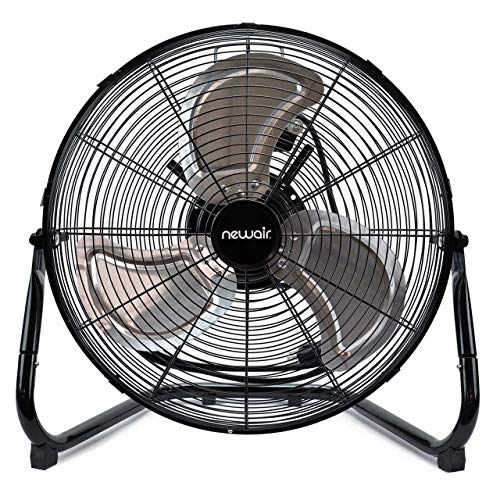 NewAir Floor Fan, 18' High Velocity Industrial Portable Shop Fan with 3 Speed Settings, WindPro18F,Black