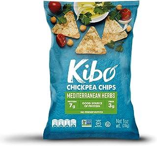 Kibo Chickpea Chips - Gluten Free and Plant-Based, Non-GMO, Kosher + Vegan. Mediterranean Herbs, 1 oz. 12 pack
