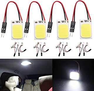 GrandviewTM Super White Energy-Saving COB 18SMD LED Panel Dome Light Auto Car Interior Reading Plate Light Roof Ceiling Interior Wired Lamp + T10 Adapter + BA9S Adapter + Festoon Adapter DC12V-4PCS