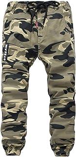 YoungSoul Pantalones para niño - Joggers Cargo con Bajos Ajustados y Estampado de Camuflaje - Pantalón de chándal con Cint...
