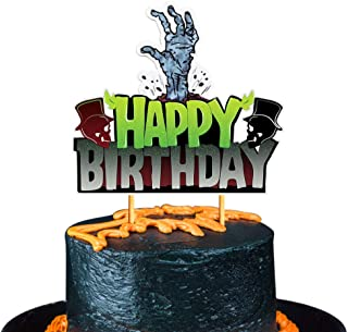 Mity rain Halloween Happy Birthaday Cake Topper - Glitter Spooky Zombie Monster Hands Cake Decoration/Adult Ceremony Kids Birthday Halloween Party Derocation