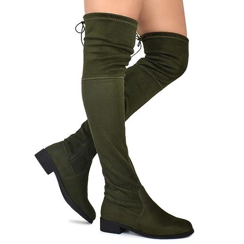 44a33bcd04f Premier Standard - Women s Fashion Comfy Vegan Suede Block Heel Side Zipper  Back Lace Thigh High