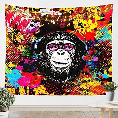 Gorilla - Manta de pared para niños y niñas, diseño de hippie, estilo graffiti para colgar en la pared, diseño de animales salvajes y brillantes