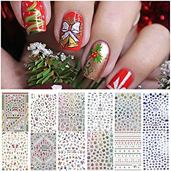 1000 Patterns Christmas Nail Art Stickers Decals Kalolary Self-adhesive Nail Stickers Santa Claus Snowflake Snowman Christmas Bell Tree Stick Elk for Christams Nail Decorations  12 Sheets Large Size