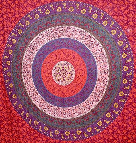 Online kastanienbraun und Blau Mandala Wandteppich, indisches Hippie Wandbehang, Bohemian Tagesdecke, Baumwolle, Mandala, als Wohnheim Strand Decke 140x 215cm Big Bazar