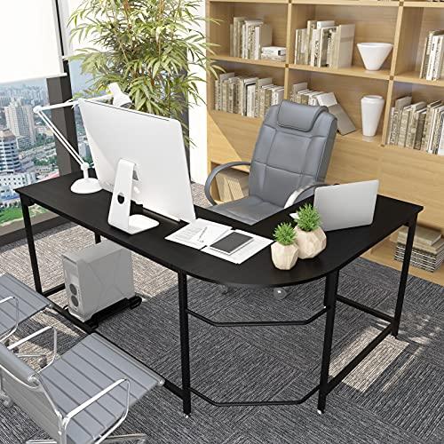 Anivia 66.13' Large Corner L-Shaped Computer Workstation Table Black Home Office Desk