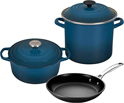 "Le Crueset 5-Piece Oven and Stovetop Cookware Bundle with 4-1/2 QT Round Dutch Oven, Le Creuset 8 QT Covered Stockpot, and Le Creuset 10"" Toughened Nonstick Pro Fry Pan - Deep Teal"