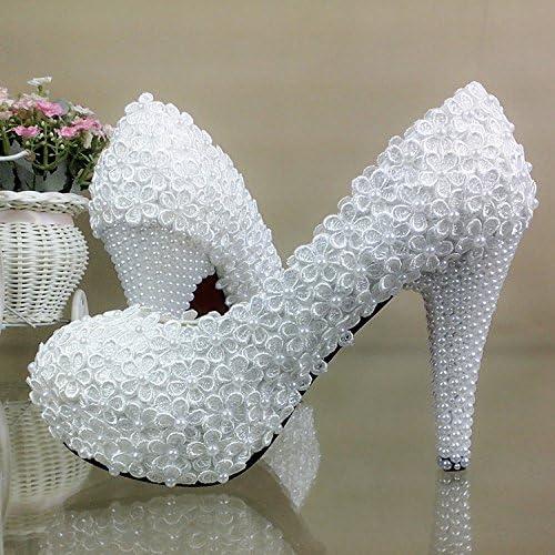 JINGXINSTORE schuhe de novia de encaje Weiß perla High-Heeled wedding schuhe Bridesmaid schuhe impermeables