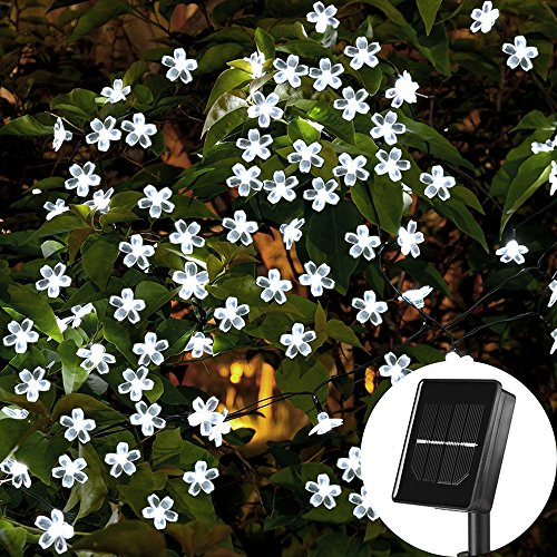 SKYFIRE Solar Flower String Lights,22ft 50 Led Cherry...