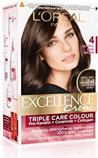 L'Oreal Paris Excellence Creme Hair Color, 4 Natural Dark Brown, 72ml+100g