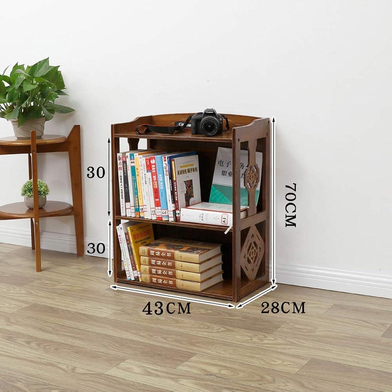 DYR Bookshelf Bookcase Bamboo Bathroom Shelf Multifunctional Floor Shelf Storage Organizer 2 Levels   3 Levels   4 Levels (Dimensions  2 floors-43 cm)