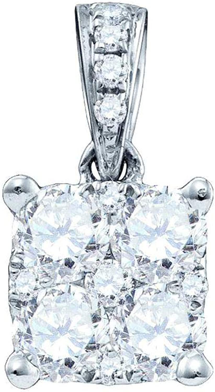 18K White gold Womens Round Diamond Squareshape Cluster Pendant 1 6 Cttw