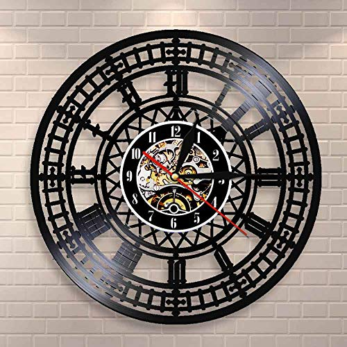Tbqevc Big Ben Landmark Tower Reloj de Pared Big Ben Disco de Vinilo, Reloj de Pared Reloj de Recuerdo de Viaje Regalo 12 Pulgadas
