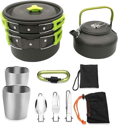 Mini pot portable En aluminium en plein air Compact camping casseroles kit de casserole casserole bouilloire gobelets Spork crochet équipeHommest de cuisson portable sac à dosing Cookset avec sac en maill