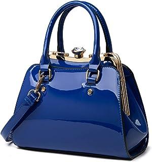 LJOSEIND Shiny Patent Leather Handbags Shoulder Bags Fashion Satchel Purses Top Handle Bags for Women