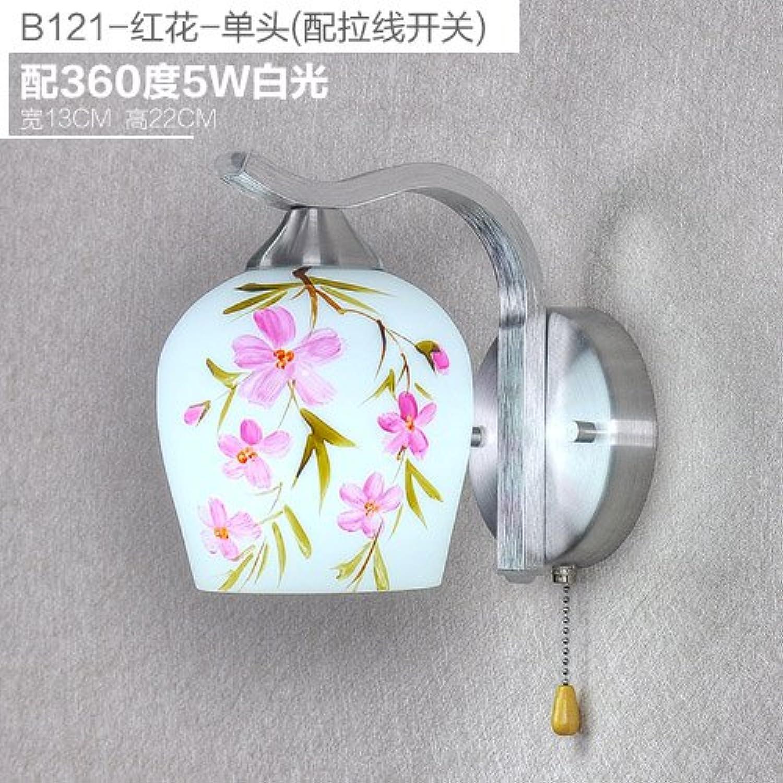 BESPD Wandleuchte Kreative manuell Malerei Wohnzimmer Schlafzimmer Bett Lampen modernen europischen Stil Lampen, einem Kopf - saflor - 5 W LED-Weilicht-LED