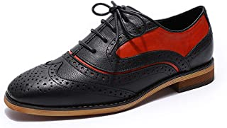 MIKCON Womens Leather Oxfords Stylish Perforated Wingtips Brogues Flats lace-up Oxfords Shoes for Women ladis Girls