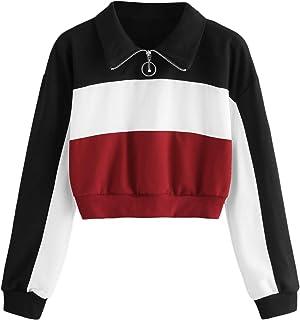 8f4fc4d18b90 SOLY HUX Mujer Sudadera Cremallera Pullover Blusa Manga Larga Crop Tops con  Camisa Patchwork