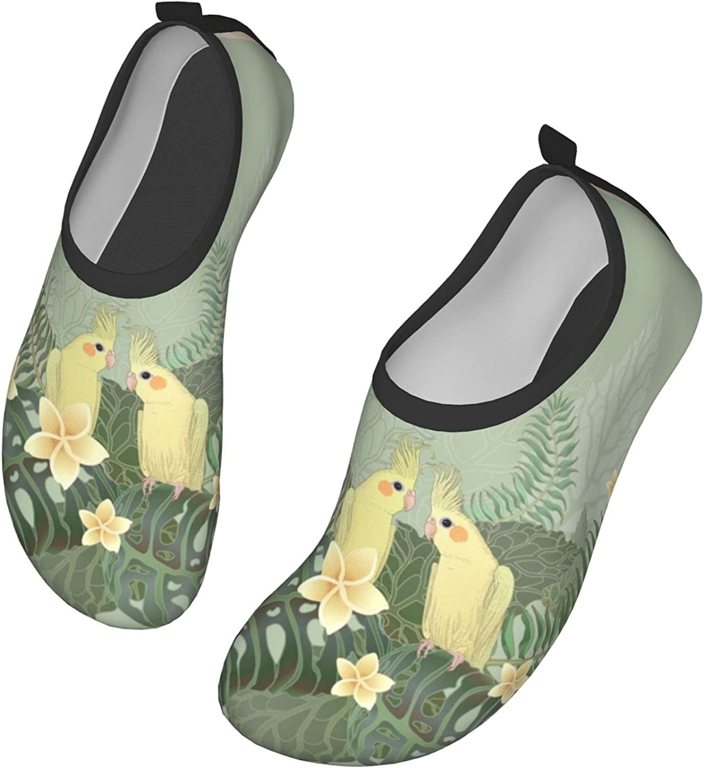 Two Yellow Cockatiel Parrots Water Shoes for Womens and Mens Summer Barefoot Shoes Quick Dry Aqua Socks for Beach Swim Yoga Exercise