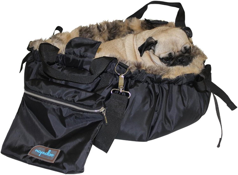 "Napidoo round fur Bag and Dog Basket (Brown Beige, FauxFur, Medium, approx. 25.6"" x 15.8"" x 4.7"")"