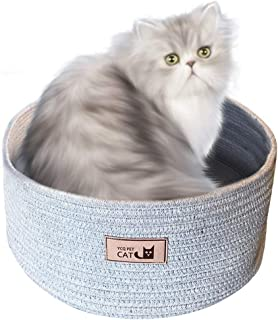 ZDUM Round Cushion Kitty Bed, Cute Basket Anti-Slip & Water-Resistant Bottom Durable Fabric Pet Supply, 15.5in Pet Bed for Cat or Small Dog, Cotton Rope Woven Nest for Cat