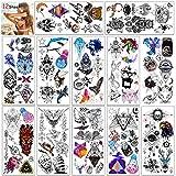 HOWAF 12 hojas de tatuajes temporales para mujeres, adultos, hombres, niños, búho, pájaro, mariposa, animal, lobo, cráneo, pluma, impermeable Tatuajes adhesivos