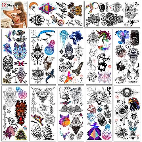 HOWAF 12 Blätter Temporäre Tattoos für Frauen, Männer, Kinder, Eule Vogel Schmetterling Tier Wolf Schädel Feder Wasserdichte Temporäre Tätowierung Aufkleber für Frauen