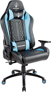 BLUE SWORD Gaming Chair, Adjustable High-Back Racing Chair with Headrest and Lumbar Support, 360° Swivel, Carbon Fiber, Leatherette, Iron Five-Star Base, Light Blue