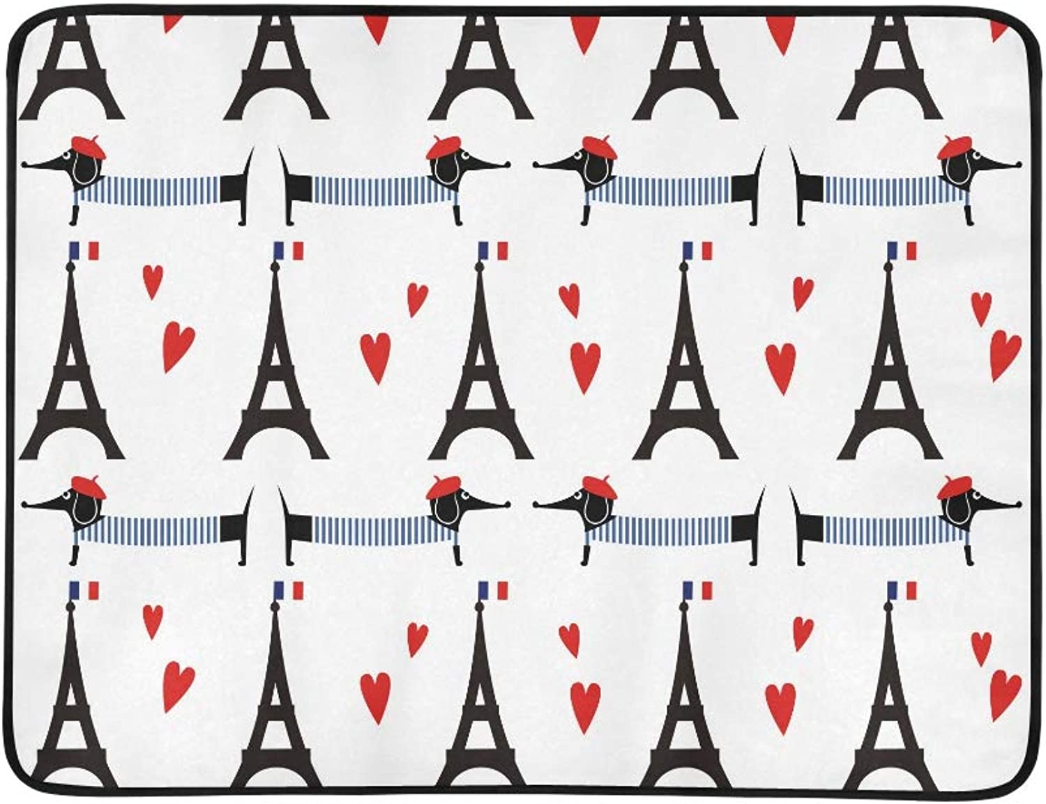 Dogs with Tour Paris Eiffel Tower Pattern Pattern Portable and Foldable Blanket Mat 60x78 Inch Handy Mat for Camping Picnic Beach Indoor Outdoor Travel