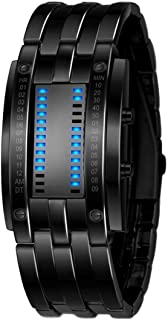 LED Sport Watch Luxury Men's Stainless Steel Date Digital Bracelet Watches (Black)