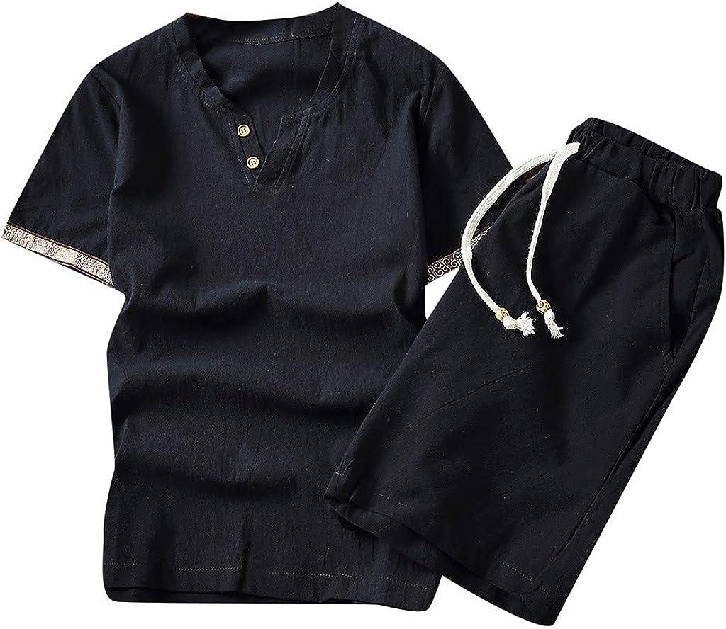 FONMA Men's Baggy Cotton Linen SOID Color Short Sleeve Retro Suit Casual Trousers