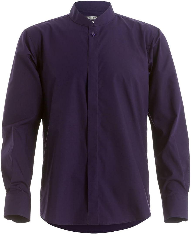 Kustom Kit - Camisa entallada de manga larga con cuello chino / mao Hombre Caballero - Trabajo/Fiesta/Verano