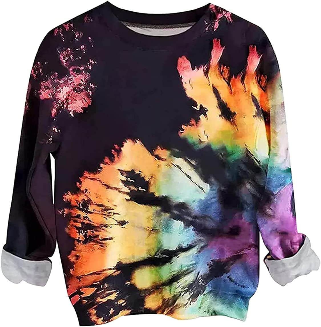 Reverse Tie Dye Sweatshirt for Women Fall Winter Long Sleeve Lightweight Pullover Sweatshirt Casual Crewneck Top Shirts