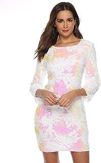 Vestido Ajustado de Lentejuelas Vestido Corto de Banquete Vestido de Brillo Manga Larga para Mujer