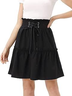 Women's Floral High Waist Ruffle Skirt A Line Flared Skater Short Mini Skirt S-XXL