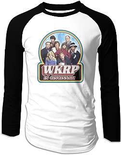 Mens Printing Logo WKRP in Cincinnati Raglan Long Sleeve Baseball T Shirts