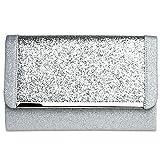 Caspar TA345 elegante Damen XL Glitzer Clutch Tasche Abendtasche mit Metallspange, Farbe:silber,...