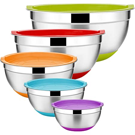 5 3 4 6 Pcs Mixing Bowls with Lids,YIHONG Stainless Steel Metal Bowls Set for Mixing with Colorful Non-Slip Bottoms 1.5QT Size 7 Baking,Serving,Food Prep 2