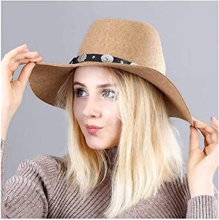 CHENDX High Quality Hat, Woolen Belt Top Hat Ladies British Wave Along Fedora Hat Female Tide Felt Hat Jazz Hat Male (Color : Yellow, Size : 56-58CM)