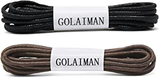GOLAIMAN Waxed Dress Shoe Laces - Round Oxfords Shoelaces Leather Shoe Lace For Men Women