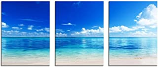 Youk-art Decor 3 Panels Blue Ocean Wall Art Seaside Beach Photograph Printed on Canvas for Home Wall Decoration Bathroom Decor Wall Art for Bedroom Overall Size 16Inch Hight and 36Inch Wight