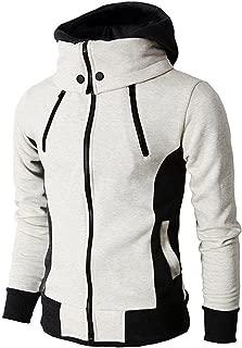 Men's Double Zipper Hooded Jacket Turtleneck Fleece Hoodie Coat
