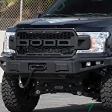 Topline Autopart Matte Black RP Style Honeycomb Mesh Front Hood Bumper Grill Grille ABS with Amber LED Lights For 18-19 Ford F150