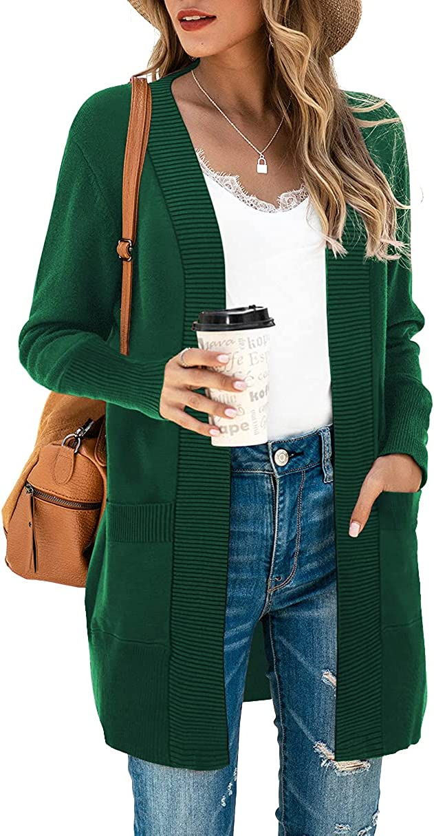 SUEANI Women's Open Front Casual Long Sleeve Knit Classic Sweaters Cardigan with Pockets
